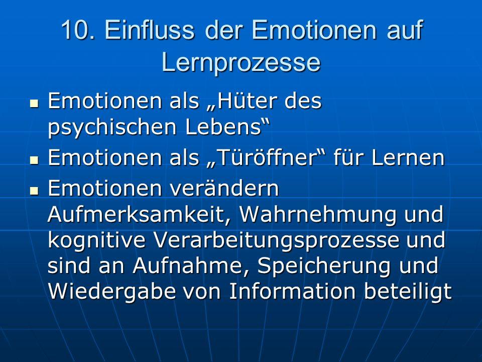 10. Einfluss der Emotionen auf Lernprozesse Emotionen als Hüter des psychischen Lebens Emotionen als Hüter des psychischen Lebens Emotionen als Türöff
