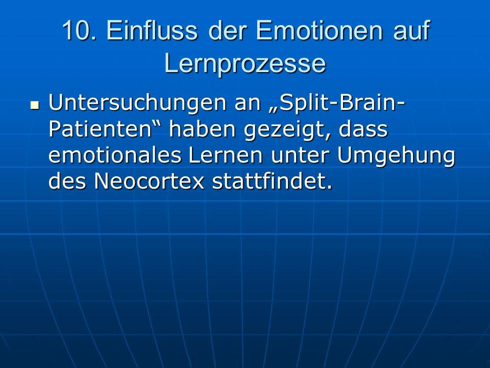 10. Einfluss der Emotionen auf Lernprozesse Untersuchungen an Split-Brain- Patienten haben gezeigt, dass emotionales Lernen unter Umgehung des Neocort