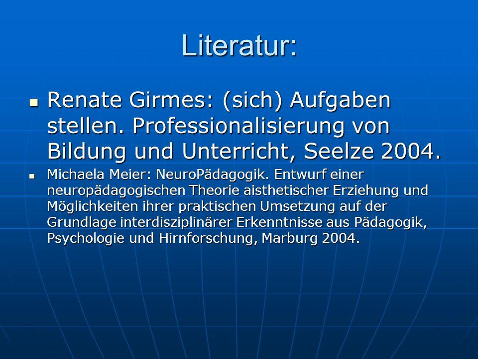 Literatur: Renate Girmes: (sich) Aufgaben stellen. Professionalisierung von Bildung und Unterricht, Seelze 2004. Renate Girmes: (sich) Aufgaben stelle