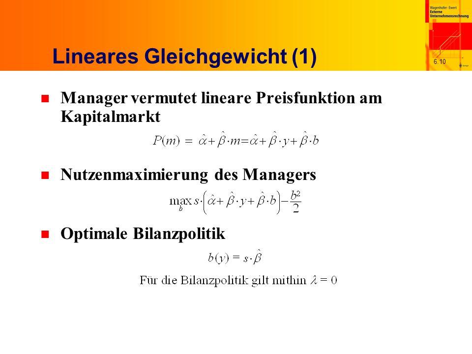 6.10 Lineares Gleichgewicht (1) n Manager vermutet lineare Preisfunktion am Kapitalmarkt n Nutzenmaximierung des Managers n Optimale Bilanzpolitik