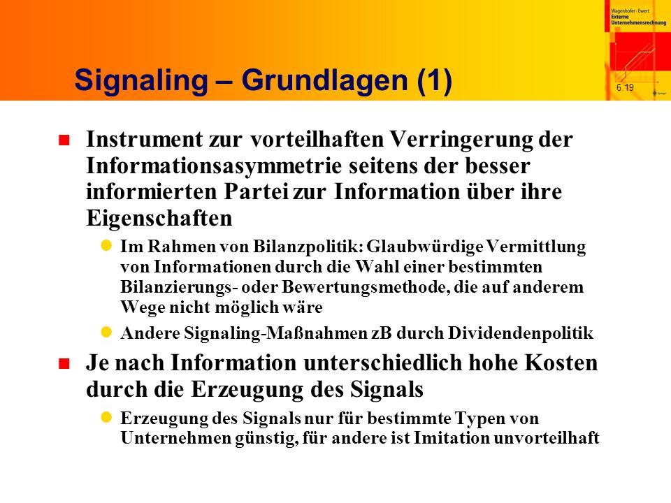 6.19 Signaling – Grundlagen (1) n Instrument zur vorteilhaften Verringerung der Informationsasymmetrie seitens der besser informierten Partei zur Info