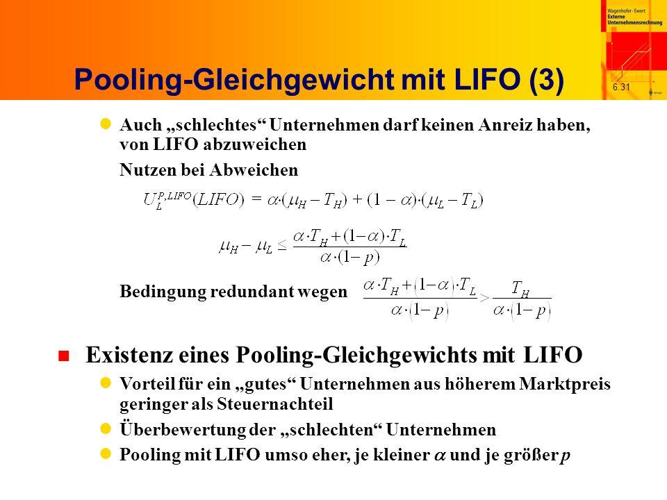 6.31 Pooling-Gleichgewicht mit LIFO (3) Auch schlechtes Unternehmen darf keinen Anreiz haben, von LIFO abzuweichen Nutzen bei Abweichen Bedingung redu