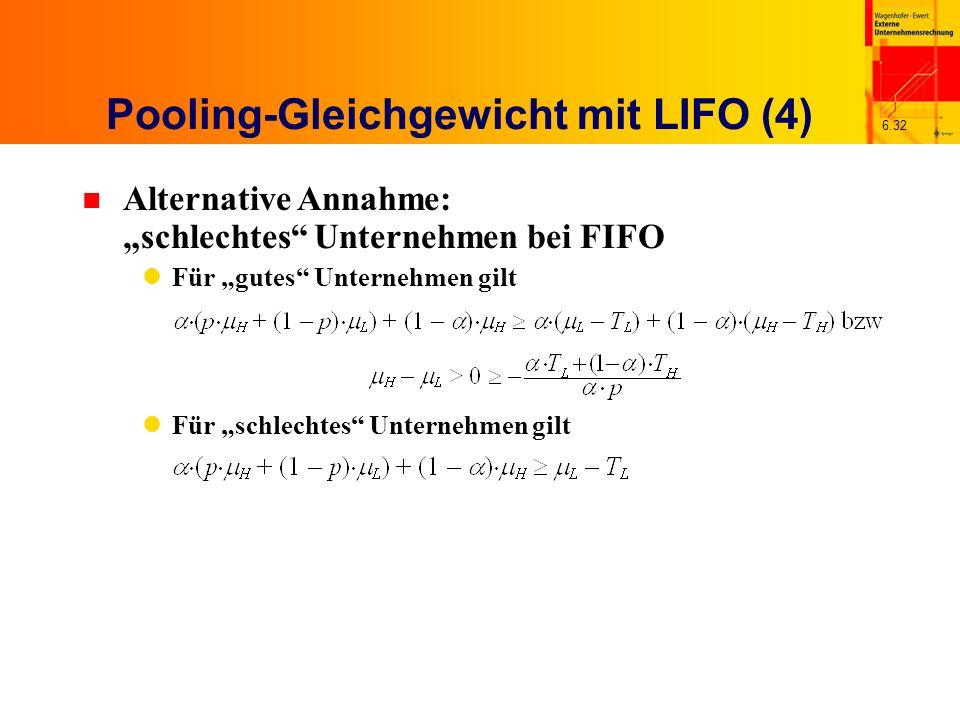 6.32 n Alternative Annahme: schlechtes Unternehmen bei FIFO Für gutes Unternehmen gilt Für schlechtes Unternehmen gilt Pooling-Gleichgewicht mit LIFO
