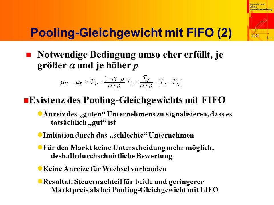 6.34 Pooling-Gleichgewicht mit FIFO (2) Notwendige Bedingung umso eher erfüllt, je größer und je höher p n Existenz des Pooling-Gleichgewichts mit FIF
