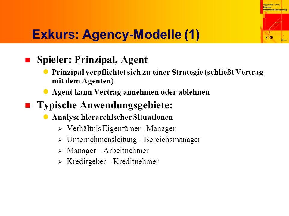 6.39 Exkurs: Agency-Modelle (1) n Spieler: Prinzipal, Agent Prinzipal verpflichtet sich zu einer Strategie (schließt Vertrag mit dem Agenten) Agent ka