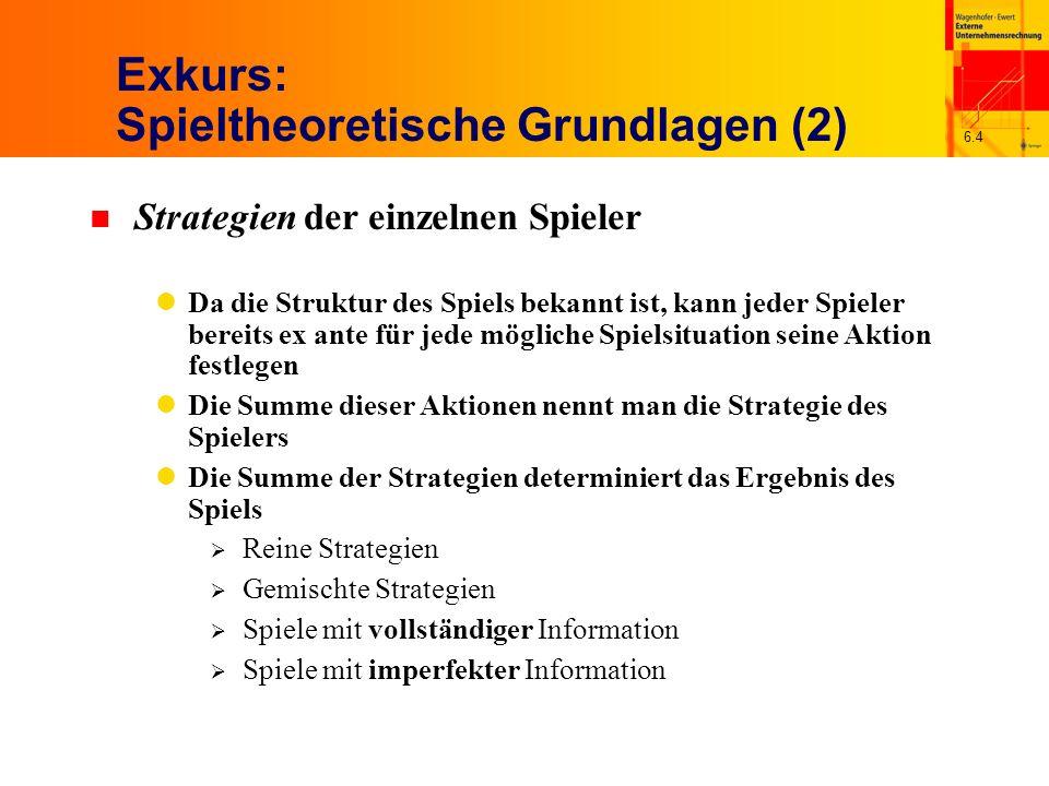 6.4 Exkurs: Spieltheoretische Grundlagen (2) n Strategien der einzelnen Spieler Da die Struktur des Spiels bekannt ist, kann jeder Spieler bereits ex