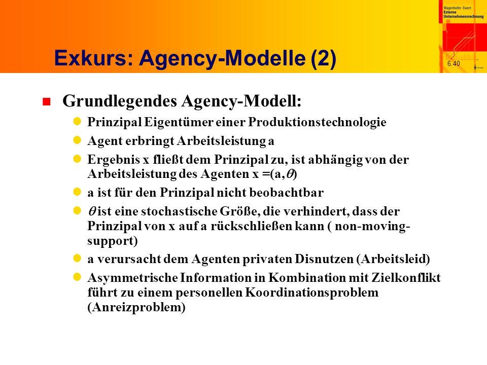 6.40 Exkurs: Agency-Modelle (2) n Grundlegendes Agency-Modell: Prinzipal Eigentümer einer Produktionstechnologie Agent erbringt Arbeitsleistung a Erge