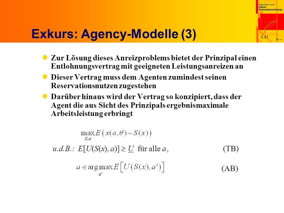 6.41 Exkurs: Agency-Modelle (3) Zur Lösung dieses Anreizproblems bietet der Prinzipal einen Entlohnungsvertrag mit geeigneten Leistungsanreizen an Die