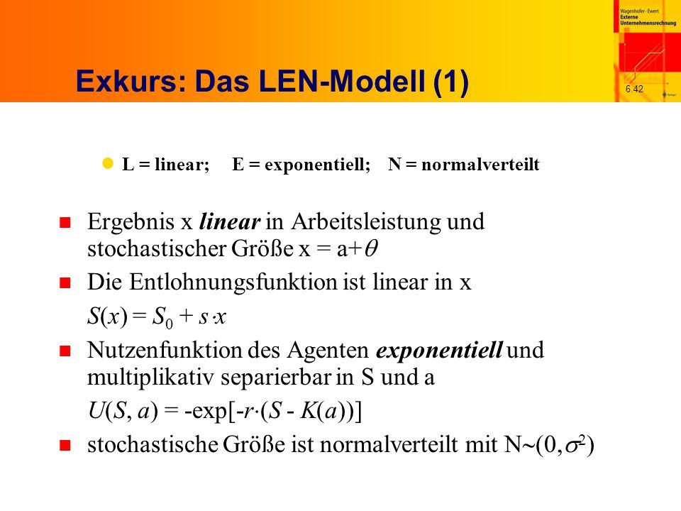 6.42 Exkurs: Das LEN-Modell (1) L = linear; E = exponentiell; N = normalverteilt n Ergebnis x linear in Arbeitsleistung und stochastischer Größe x = a