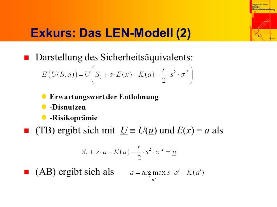 6.43 Exkurs: Das LEN-Modell (2) n Darstellung des Sicherheitsäquivalents: Erwartungswert der Entlohnung -Disnutzen -Risikoprämie n (TB) ergibt sich mi