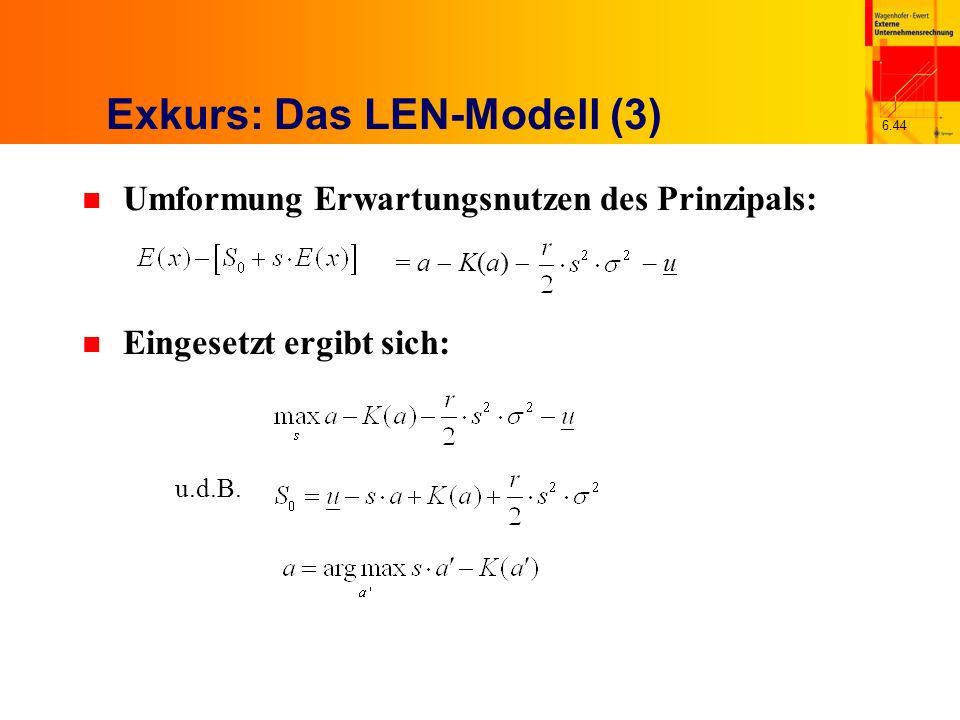 6.44 Exkurs: Das LEN-Modell (3) n Umformung Erwartungsnutzen des Prinzipals: n Eingesetzt ergibt sich: u.d.B. = a K(a) – u