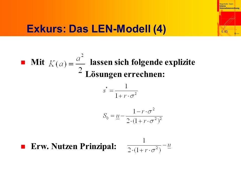 6.45 Exkurs: Das LEN-Modell (4) n Mit lassen sich folgende explizite Lösungen errechnen: n Erw. Nutzen Prinzipal: