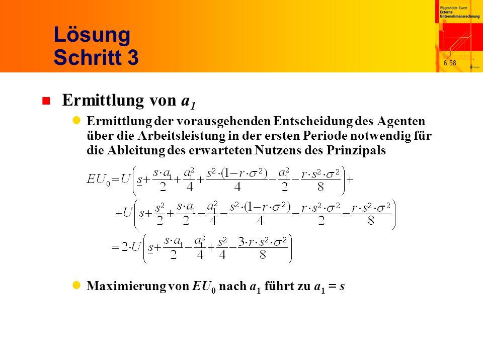 6.58 Lösung Schritt 3 n Ermittlung von a 1 Ermittlung der vorausgehenden Entscheidung des Agenten über die Arbeitsleistung in der ersten Periode notwe
