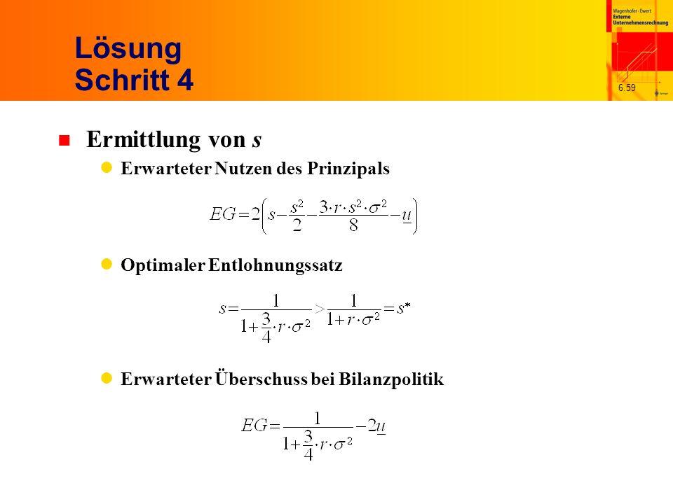 6.59 Lösung Schritt 4 n Ermittlung von s Erwarteter Nutzen des Prinzipals Optimaler Entlohnungssatz Erwarteter Überschuss bei Bilanzpolitik