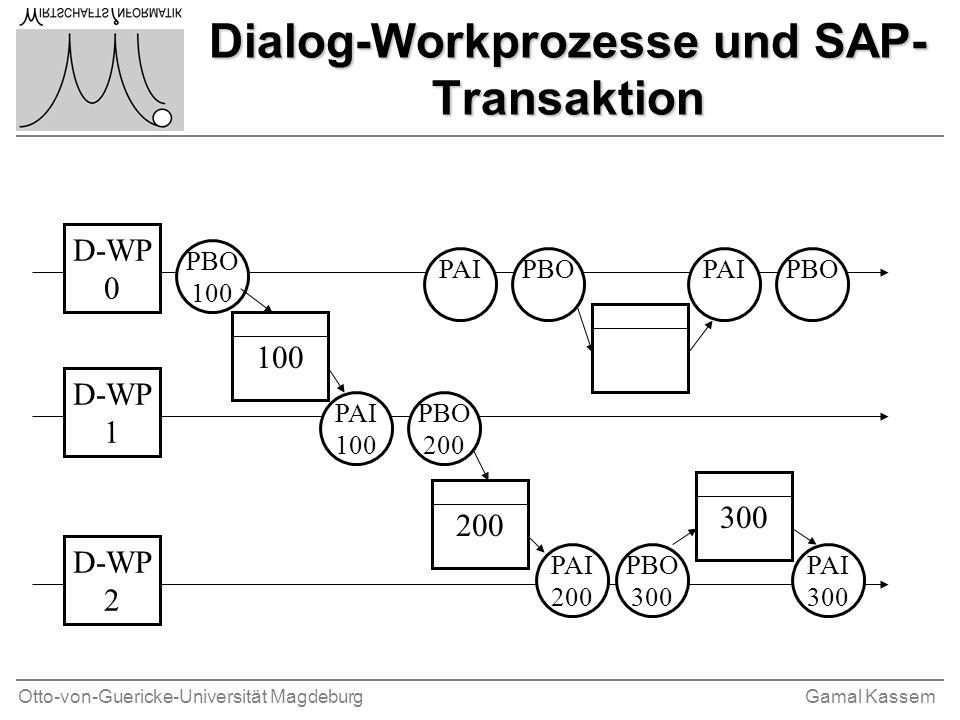 Otto-von-Guericke-Universität MagdeburgGamal Kassem Dialog-Workprozesse und SAP- Transaktion D-WP 0 D-WP 1 D-WP 2 100 PBO 100 PAI 100 200 100 300 PBO
