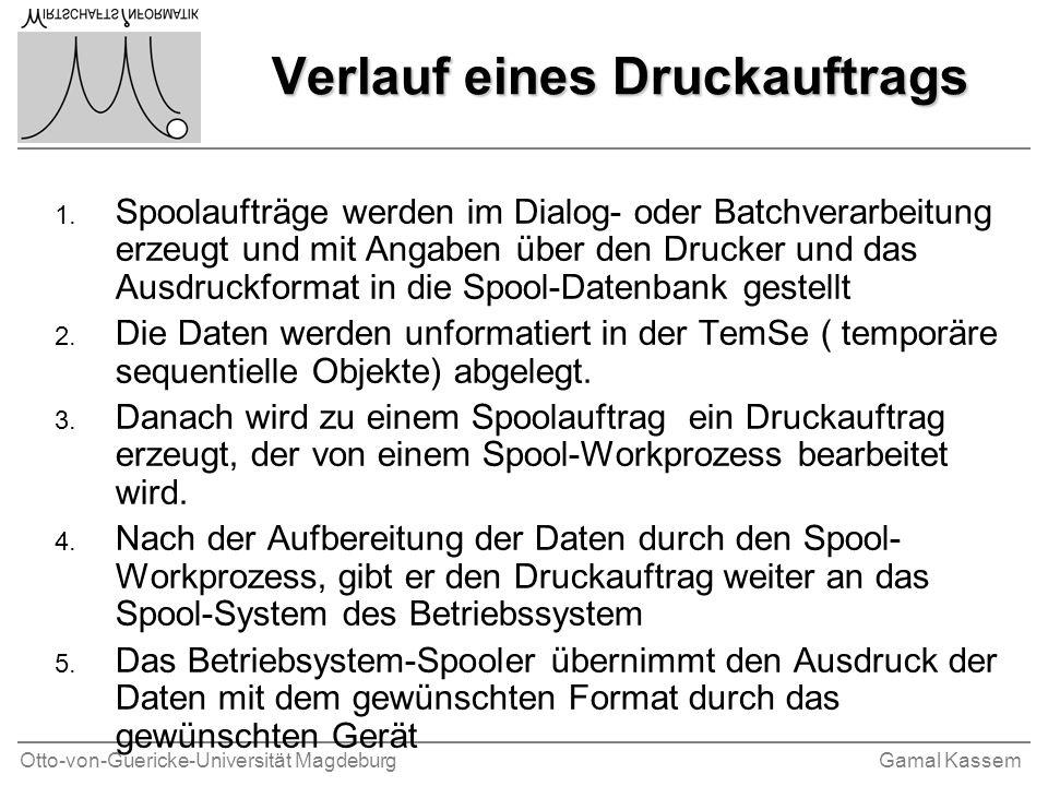 Otto-von-Guericke-Universität MagdeburgGamal Kassem Verlauf eines Druckauftrags 1. Spoolaufträge werden im Dialog- oder Batchverarbeitung erzeugt und