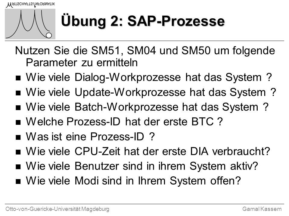 Otto-von-Guericke-Universität MagdeburgGamal Kassem Übung 2: SAP-Prozesse Nutzen Sie die SM51, SM04 und SM50 um folgende Parameter zu ermitteln n Wie