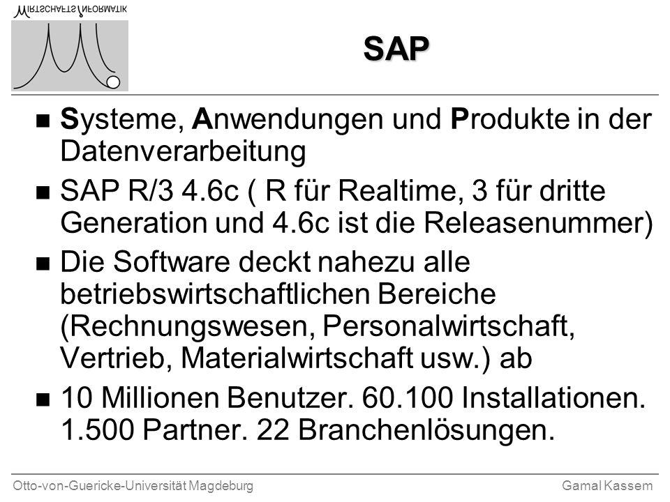 Otto-von-Guericke-Universität MagdeburgGamal Kassem Ziele der Übung Vermittlung von Grundlagen und Wissen über; n Basis-System und SAP-Systemsumgebung n Optimierung des Systems n SAP Administration n ABAP