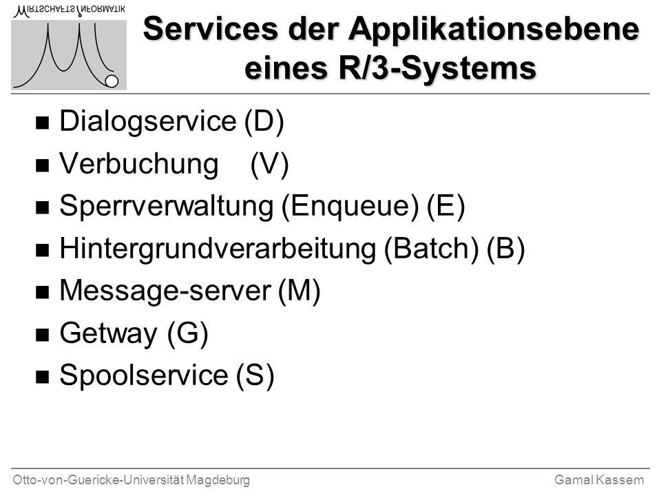 Otto-von-Guericke-Universität MagdeburgGamal Kassem Services der Applikationsebene eines R/3-Systems n Dialogservice (D) n Verbuchung (V) n Sperrverwa