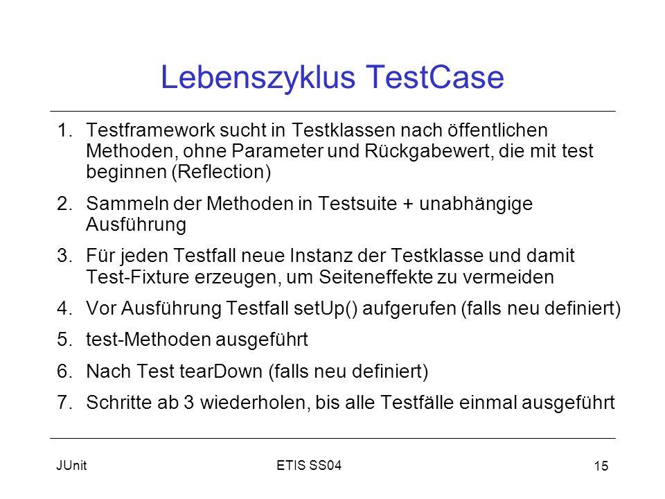 ETIS SS04JUnit 15 Lebenszyklus TestCase 1.Testframework sucht in Testklassen nach öffentlichen Methoden, ohne Parameter und Rückgabewert, die mit test beginnen (Reflection) 2.Sammeln der Methoden in Testsuite + unabhängige Ausführung 3.Für jeden Testfall neue Instanz der Testklasse und damit Test-Fixture erzeugen, um Seiteneffekte zu vermeiden 4.Vor Ausführung Testfall setUp() aufgerufen (falls neu definiert) 5.test-Methoden ausgeführt 6.Nach Test tearDown (falls neu definiert) 7.Schritte ab 3 wiederholen, bis alle Testfälle einmal ausgeführt