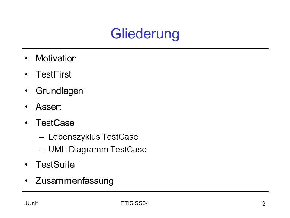 JUnit 2 Gliederung Motivation TestFirst Grundlagen Assert TestCase –Lebenszyklus TestCase –UML-Diagramm TestCase TestSuite Zusammenfassung