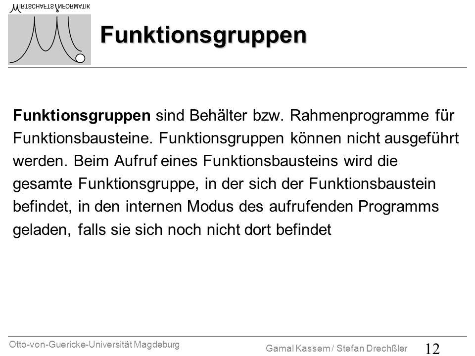Otto-von-Guericke-Universität Magdeburg Gamal Kassem / Stefan Drechßler 12 Funktionsgruppen Funktionsgruppen sind Behälter bzw. Rahmenprogramme für Fu