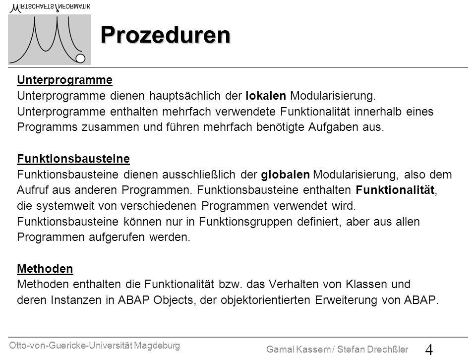 Otto-von-Guericke-Universität Magdeburg Gamal Kassem / Stefan Drechßler 4 Prozeduren Unterprogramme Unterprogramme dienen hauptsächlich der lokalen Mo