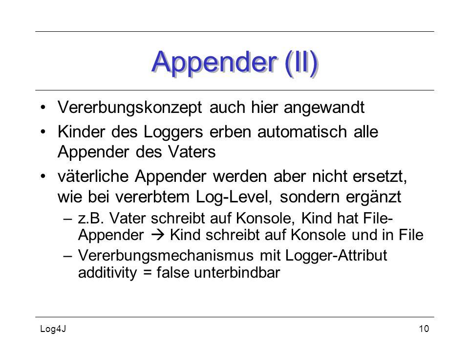 Log4J10 Appender (II) Vererbungskonzept auch hier angewandt Kinder des Loggers erben automatisch alle Appender des Vaters väterliche Appender werden a