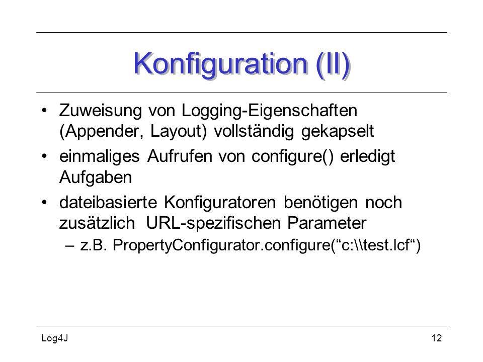 Log4J12 Konfiguration (II) Zuweisung von Logging-Eigenschaften (Appender, Layout) vollständig gekapselt einmaliges Aufrufen von configure() erledigt A