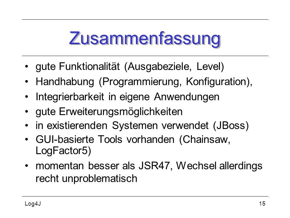 Log4J15 Zusammenfassung gute Funktionalität (Ausgabeziele, Level) Handhabung (Programmierung, Konfiguration), Integrierbarkeit in eigene Anwendungen g