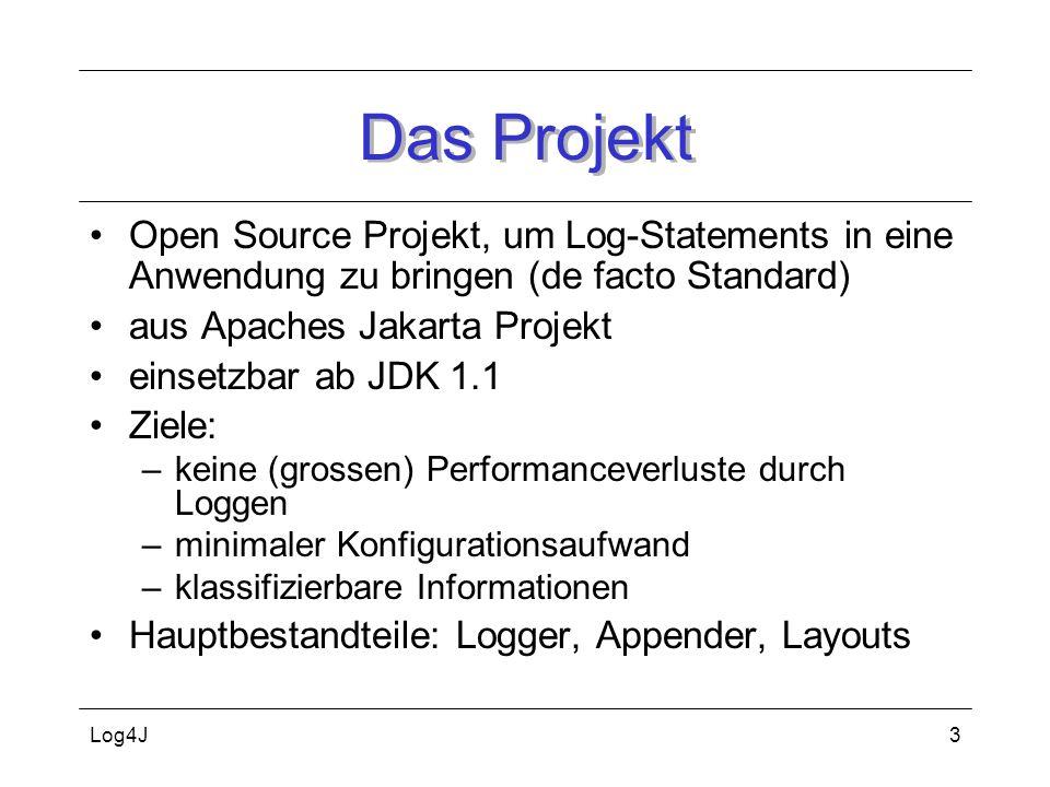Log4J4 Klasse Logger (I) Kernkomponente: Klasse Logger (ehemals Category) kann Entwickler als private statische Variable in Anwendung bereitstellen und mit entsprechen- den Methoden nutzen private static Logger logger = Logger.getLogger(test.Sample); logger.debug(irgendwas);