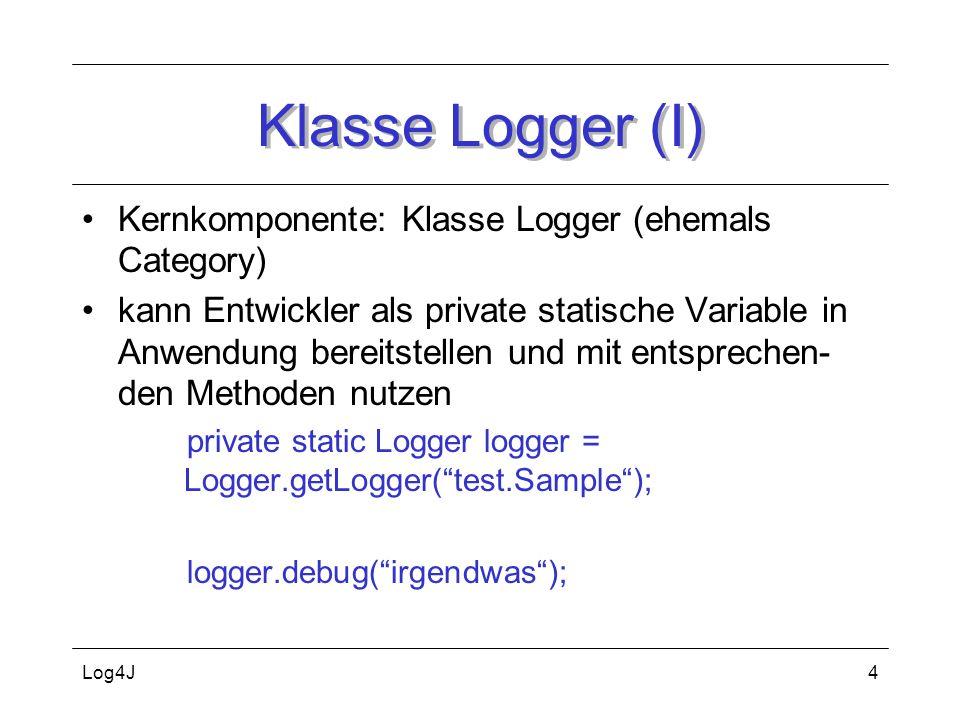Log4J5 Klasse Logger (II) Klassenname als Loggername ist Konvention –so Logging für einzelne Klasse oder package ein- und ausschalten Log-Statements bleiben i.d.R.