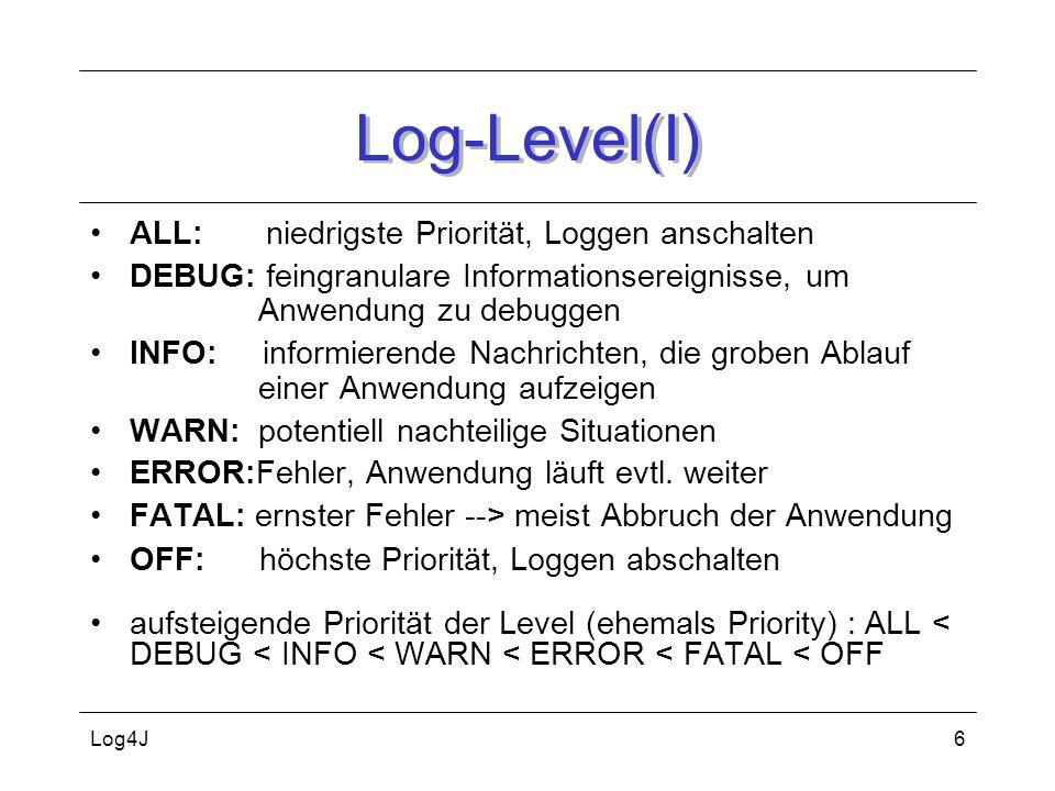 Log4J6 Log-Level(I) ALL: niedrigste Priorität, Loggen anschalten DEBUG: feingranulare Informationsereignisse, um Anwendung zu debuggen INFO: informier