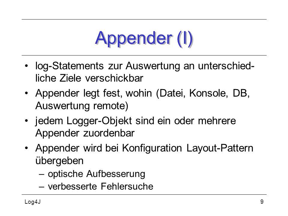 Log4J9 Appender (I) log-Statements zur Auswertung an unterschied- liche Ziele verschickbar Appender legt fest, wohin (Datei, Konsole, DB, Auswertung r