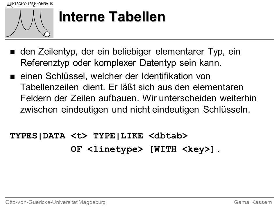 Otto-von-Guericke-Universität MagdeburgGamal Kassem Interne Tabellen n den Zeilentyp, der ein beliebiger elementarer Typ, ein Referenztyp oder komplexer Datentyp sein kann.