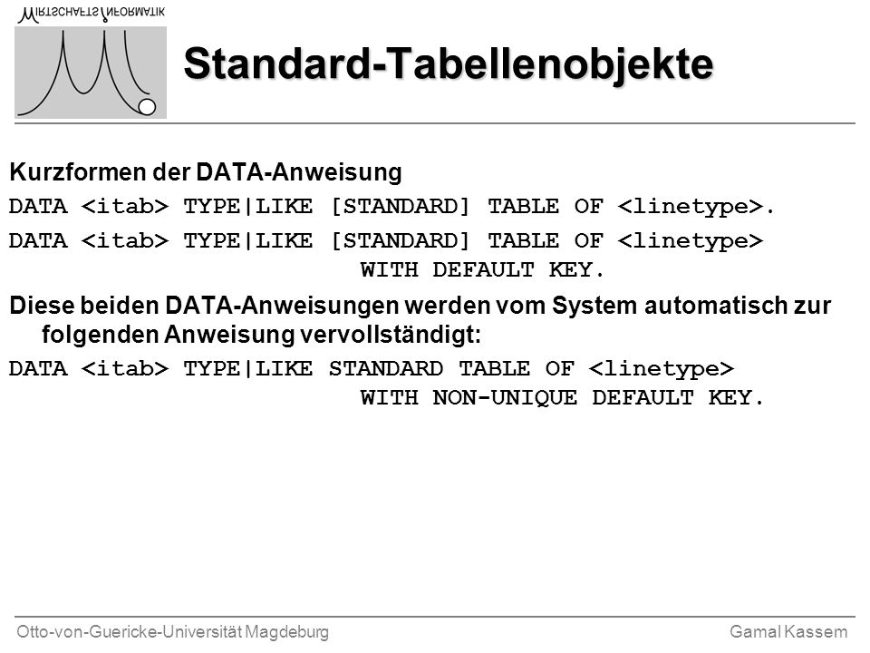 Otto-von-Guericke-Universität MagdeburgGamal Kassem Standard-Tabellenobjekte Kurzformen der DATA-Anweisung DATA TYPE|LIKE [STANDARD] TABLE OF. DATA TY
