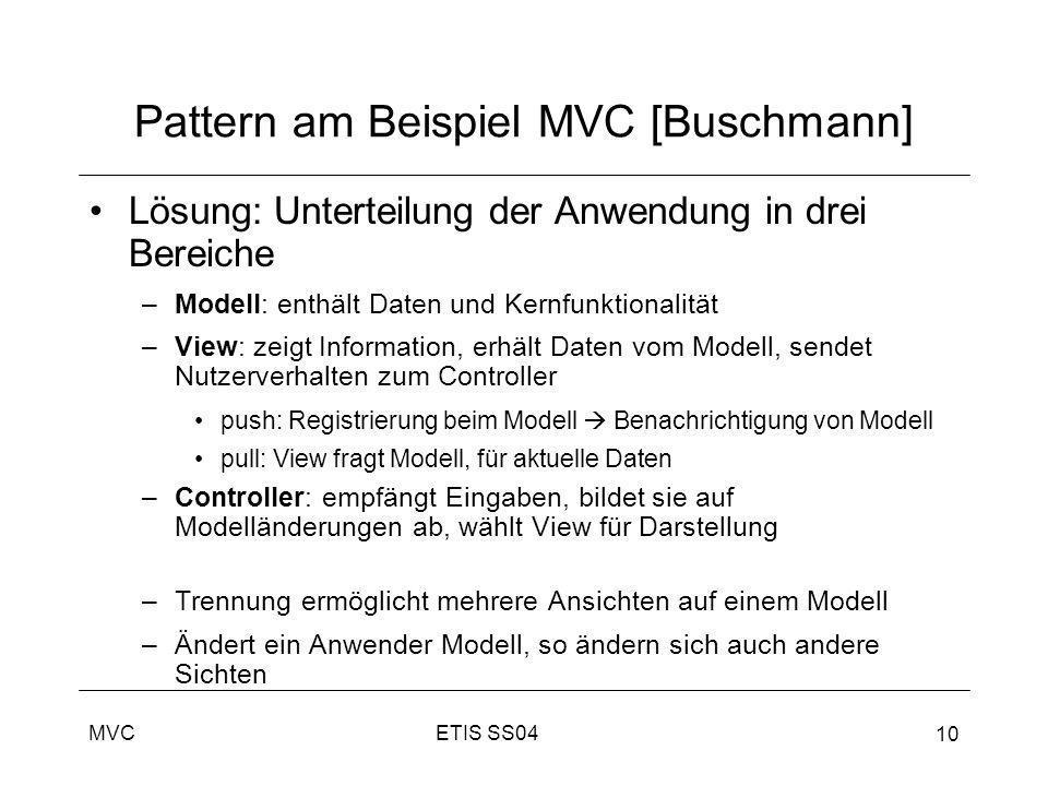 ETIS SS04MVC 10 Pattern am Beispiel MVC [Buschmann] Lösung: Unterteilung der Anwendung in drei Bereiche –Modell: enthält Daten und Kernfunktionalität