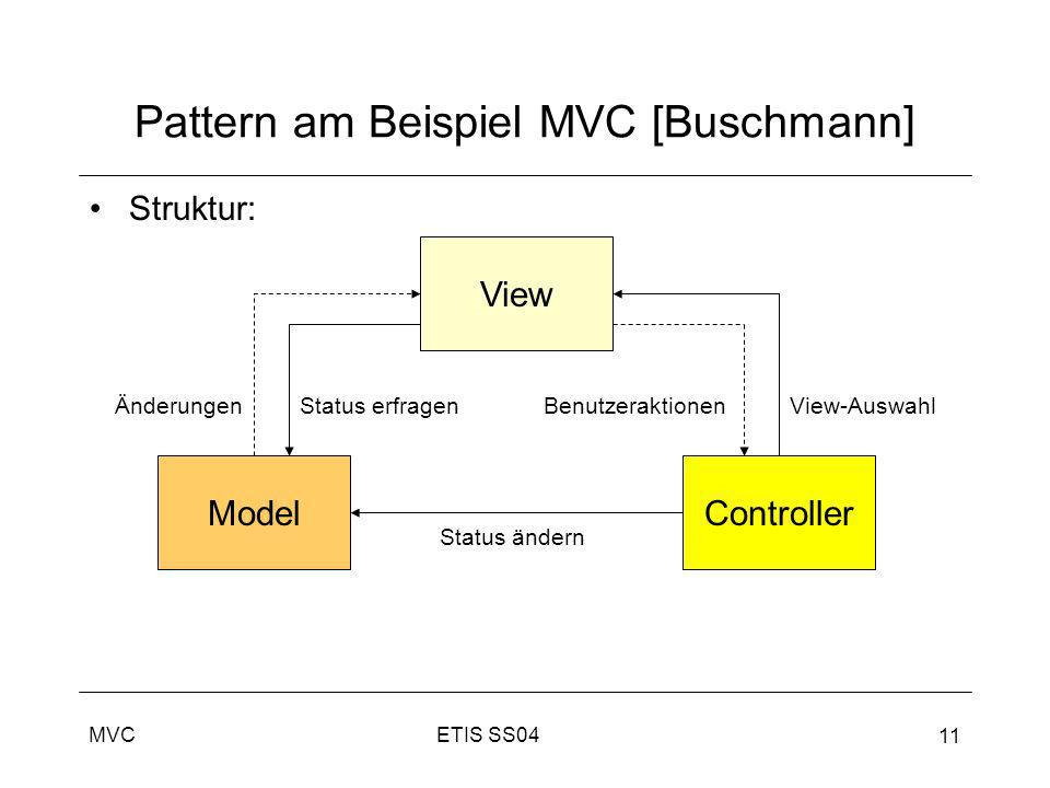 ETIS SS04MVC 11 Pattern am Beispiel MVC [Buschmann] Struktur: View ControllerModel BenutzeraktionenView-AuswahlÄnderungenStatus erfragen Status ändern