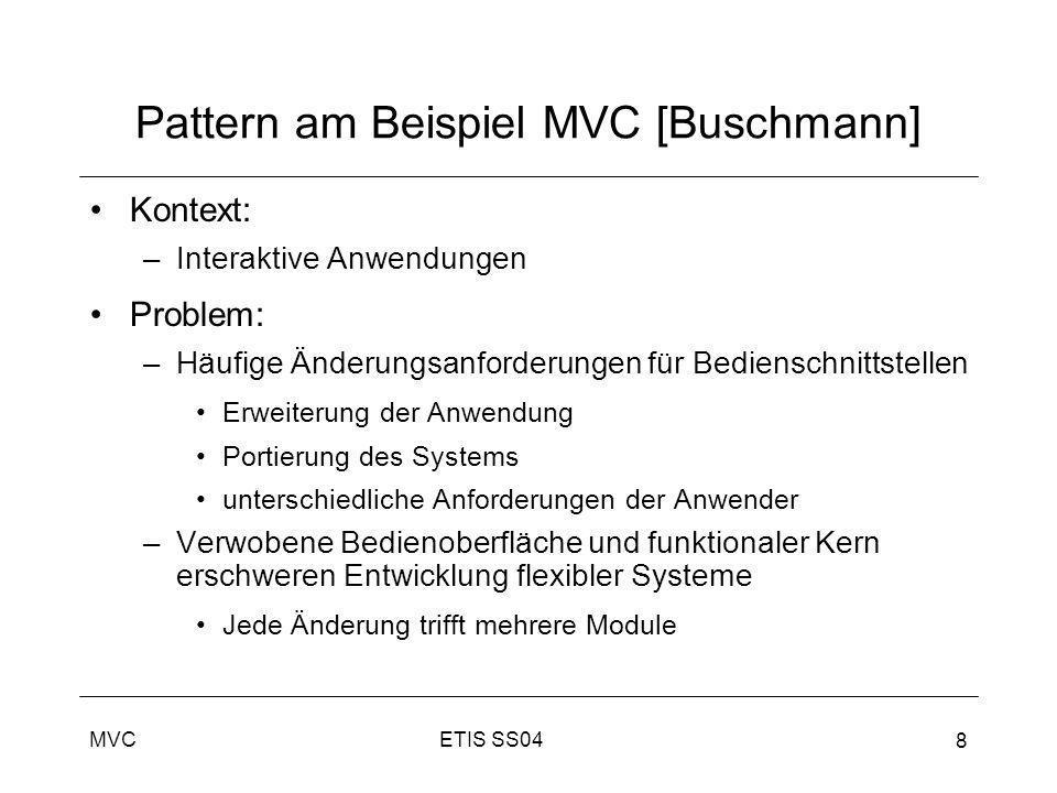 ETIS SS04MVC 8 Pattern am Beispiel MVC [Buschmann] Kontext: –Interaktive Anwendungen Problem: –Häufige Änderungsanforderungen für Bedienschnittstellen