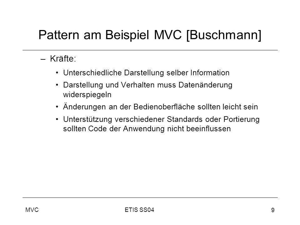 ETIS SS04MVC 9 Pattern am Beispiel MVC [Buschmann] –Kräfte: Unterschiedliche Darstellung selber Information Darstellung und Verhalten muss Datenänderu