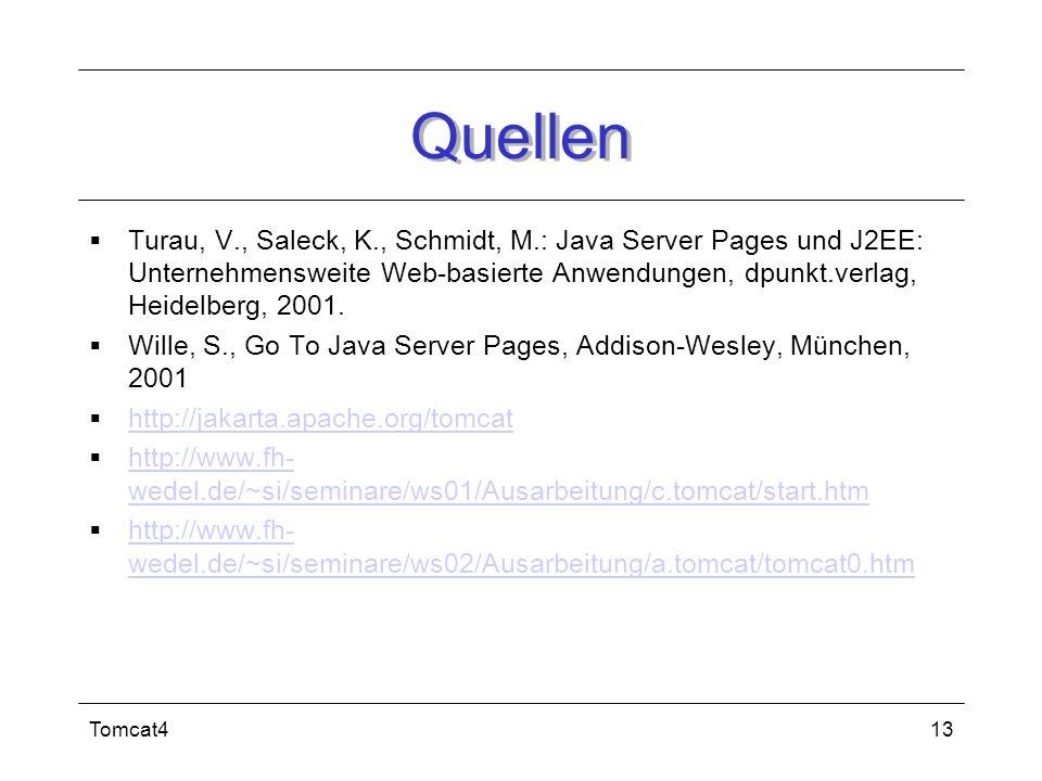 Tomcat413 Quellen Turau, V., Saleck, K., Schmidt, M.: Java Server Pages und J2EE: Unternehmensweite Web-basierte Anwendungen, dpunkt.verlag, Heidelber