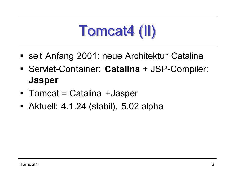 Tomcat413 Quellen Turau, V., Saleck, K., Schmidt, M.: Java Server Pages und J2EE: Unternehmensweite Web-basierte Anwendungen, dpunkt.verlag, Heidelberg, 2001.
