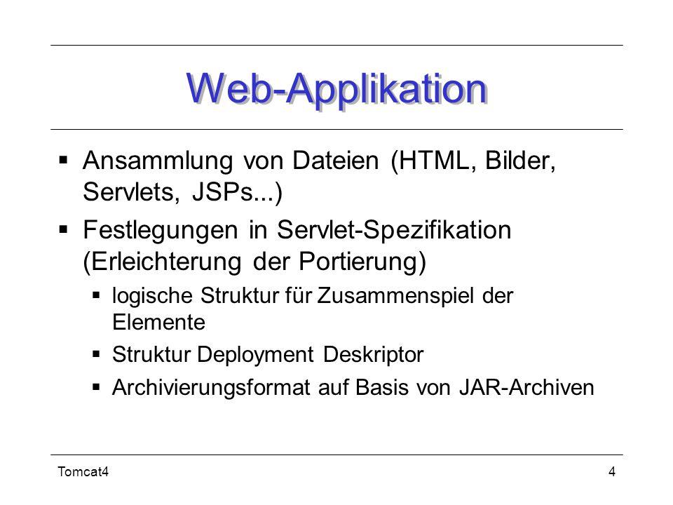 Tomcat44 Web-Applikation Ansammlung von Dateien (HTML, Bilder, Servlets, JSPs...) Festlegungen in Servlet-Spezifikation (Erleichterung der Portierung)