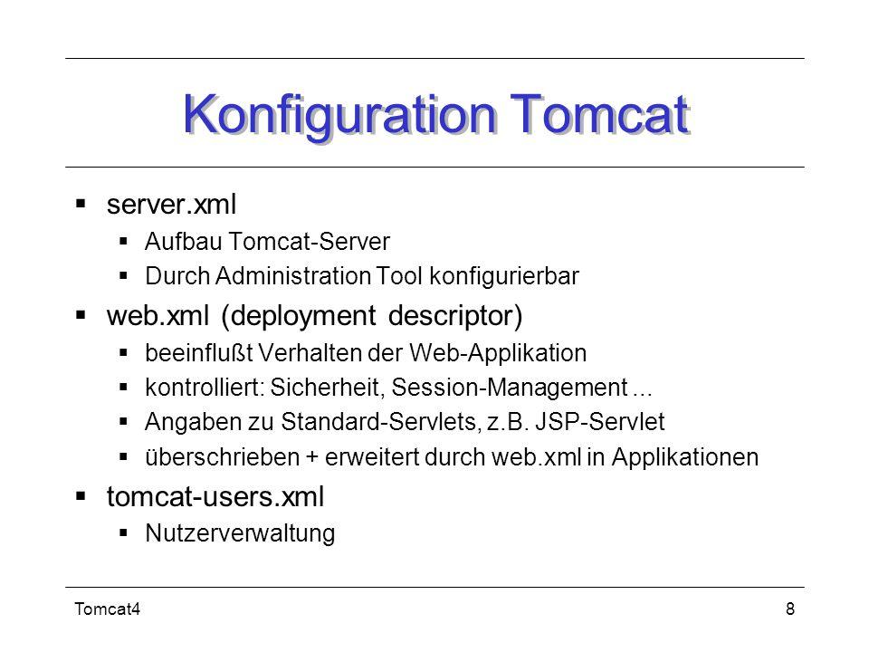 Tomcat49 Installation Download von aktueller J2SE (ab jdk1.2) Download + Entpacken der Binaries http://jakarta.apache.org/site/binindex.cgi Verfügbar als tar-Archive (Unix), zip-Archive (Windows) + exe-Datei (Windows) Zu setzende Umgebungsvariablen: JAVA_HOME + CATALINA_HOME Start startup.sh oder startup.bat danach Tomcat unter http://localhost:8080/ verfügbar Stop shutdown.sh oder shutdown.bat