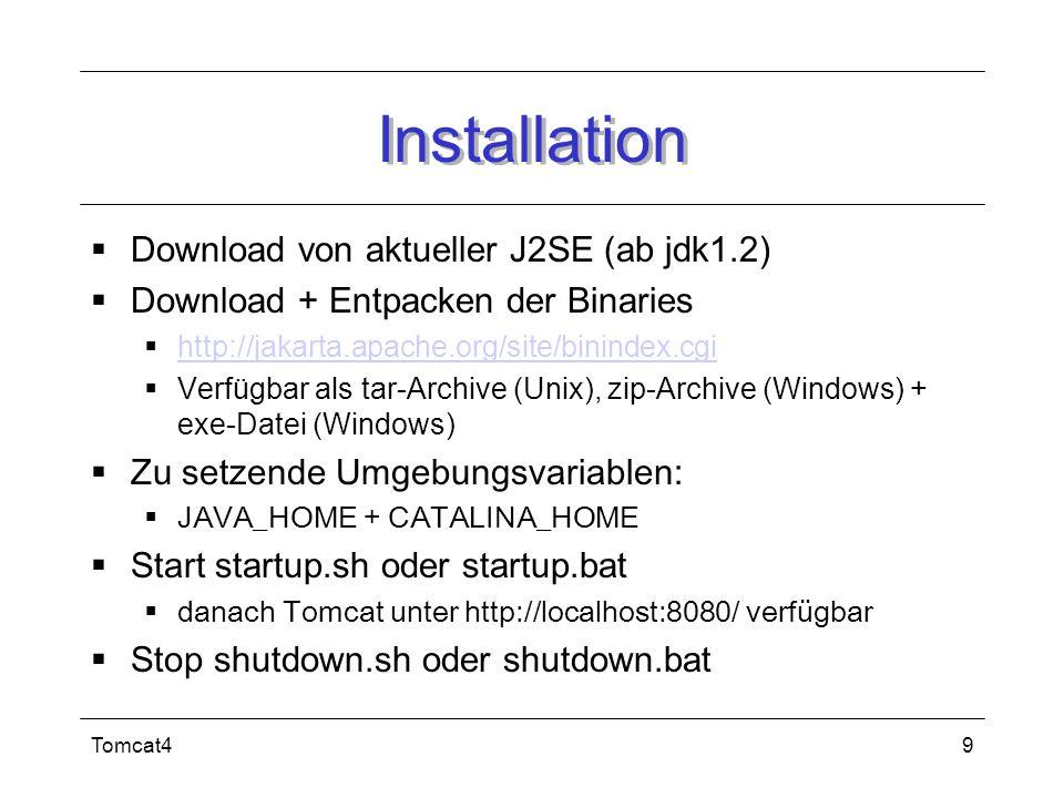 Tomcat49 Installation Download von aktueller J2SE (ab jdk1.2) Download + Entpacken der Binaries http://jakarta.apache.org/site/binindex.cgi Verfügbar