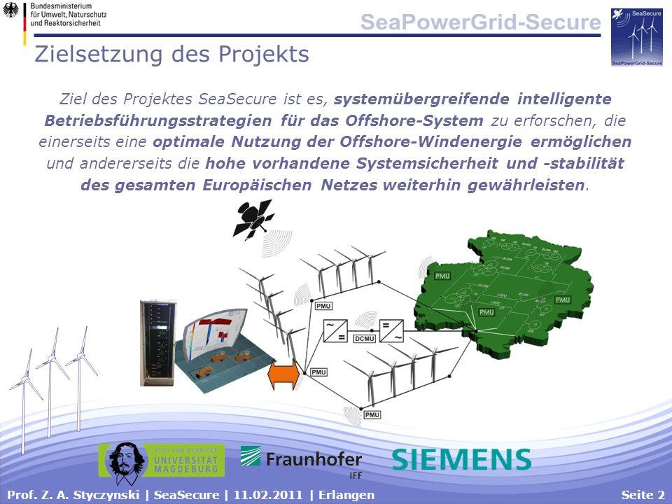 Prof. Z. A. Styczynski | SeaSecure | 11.02.2011 | ErlangenSeite 2 Zielsetzung des Projekts Ziel des Projektes SeaSecure ist es, systemübergreifende in