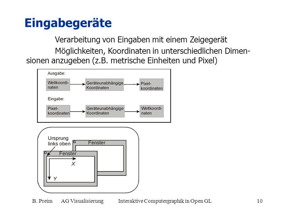 B. Preim AG Visualisierung Interaktive Computergraphik in Open GL10 Eingabegeräte Verarbeitung von Eingaben mit einem Zeigegerät Möglichkeiten, Koordi