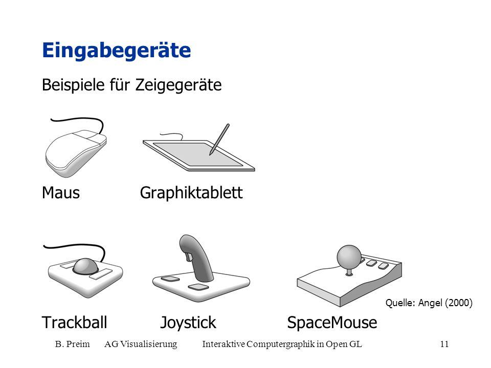 B. Preim AG Visualisierung Interaktive Computergraphik in Open GL11 Beispiele für Zeigegeräte Maus Graphiktablett Trackball Joystick SpaceMouse Eingab
