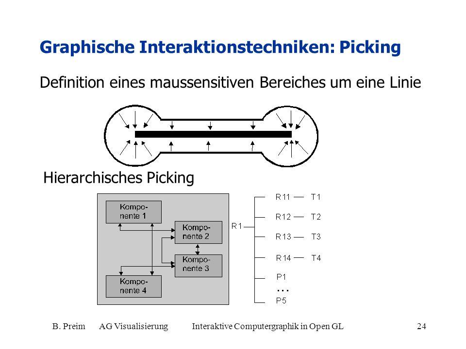 B. Preim AG Visualisierung Interaktive Computergraphik in Open GL24 Graphische Interaktionstechniken: Picking Definition eines maussensitiven Bereiche
