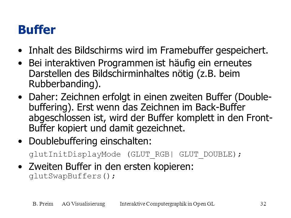 B. Preim AG Visualisierung Interaktive Computergraphik in Open GL32 Buffer Inhalt des Bildschirms wird im Framebuffer gespeichert. Bei interaktiven Pr